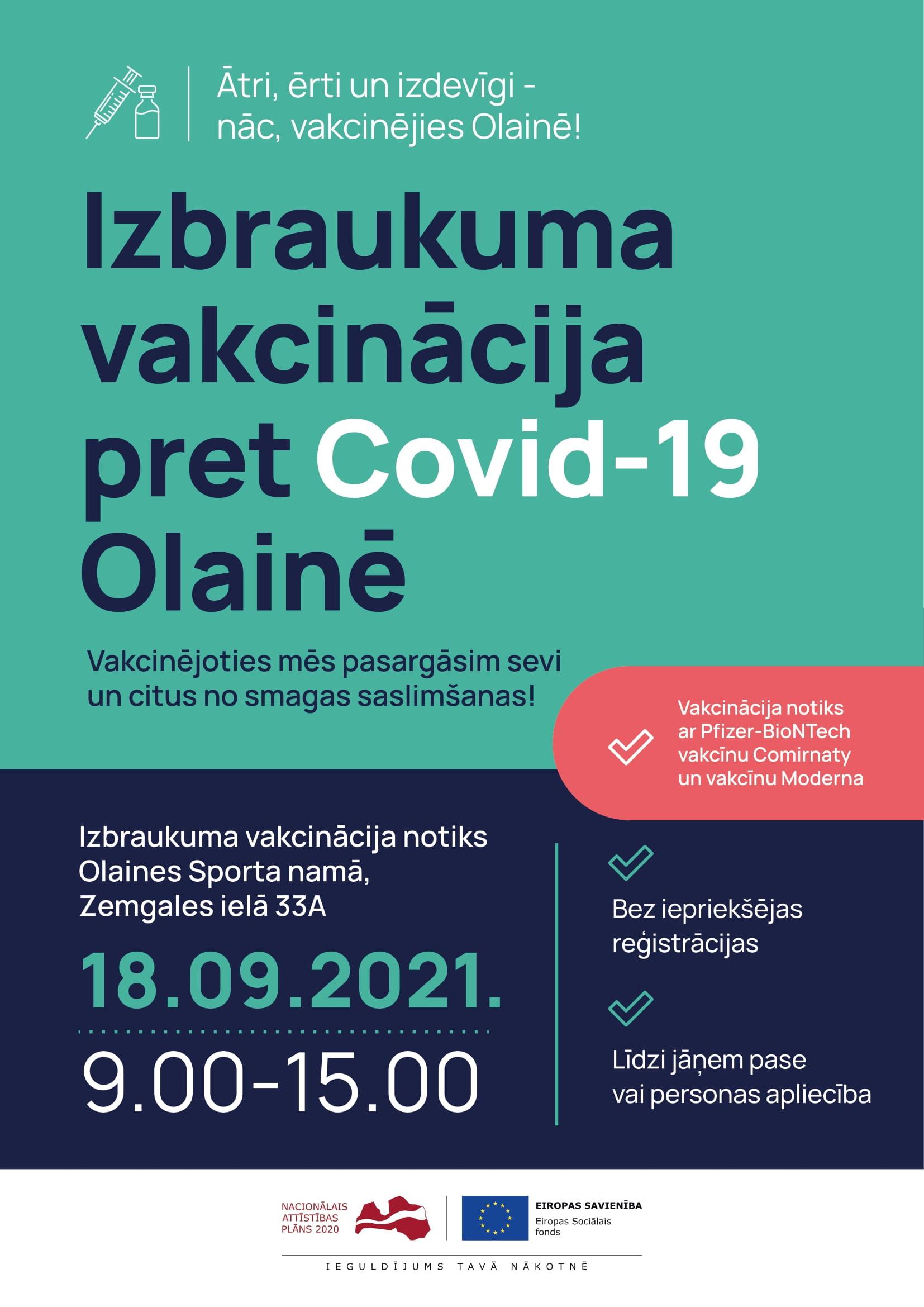Plakāts ar iepriekš minēto informāciju par izbraukuma vakcināciju